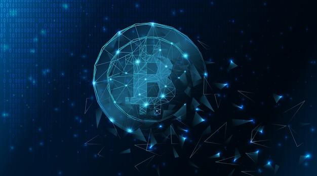 Abstrakter bitcoin hintergrund bildete sich aus linien und dreiecken