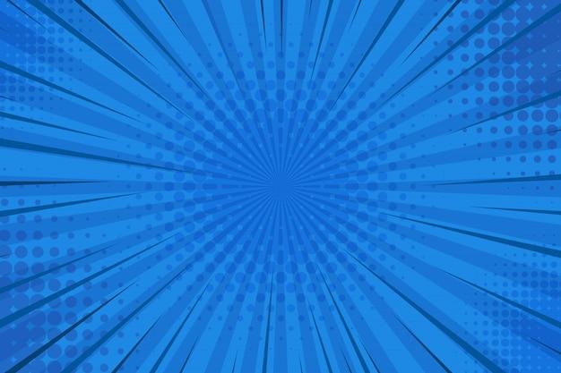 Abstrakter blau gestreifter retro-comic-hintergrund mit halbton-ecken.