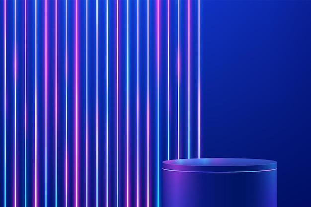 Abstrakter blauer 3d-zylindersockel oder standpodest mit vertikal leuchtendem neonbeleuchtungshintergrund