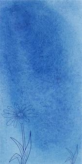 Abstrakter blauer aquarellfahnenbeschaffenheitshintergrund mit hand gezeichneten blumen
