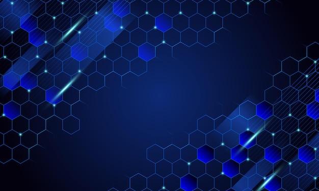 Abstrakter blauer digitaler bienenwabenhintergrund. vektor-illustration. muster für anzeigen, poster, banner.