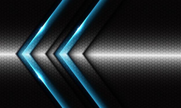 Abstrakter blauer doppelpfeil mit leerem design