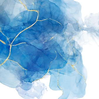 Abstrakter blauer flüssiger aquarellhintergrund mit goldenen crackern.