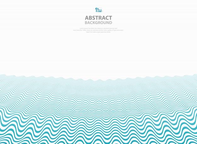 Abstrakter blauer gewellter musterstreifen zeichnet ozeanseehintergrund