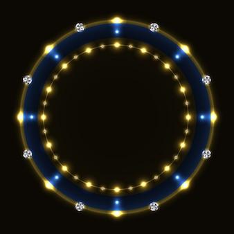 Abstrakter blauer goldener ring