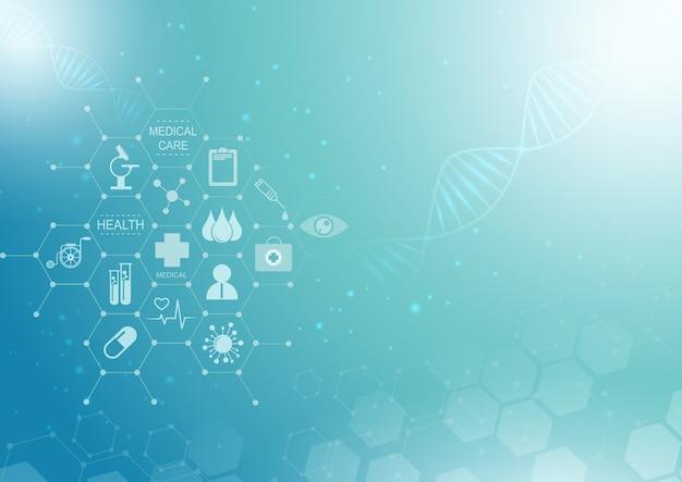 Abstrakter blauer heller hintergrund. medizinisches innovationskonzept des gesundheitswesenikonenmusters.