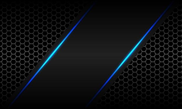 Abstrakter blauer heller neongrauer metallischer sechseck-mesh-luxus-futuristischer technologievektorhintergrund