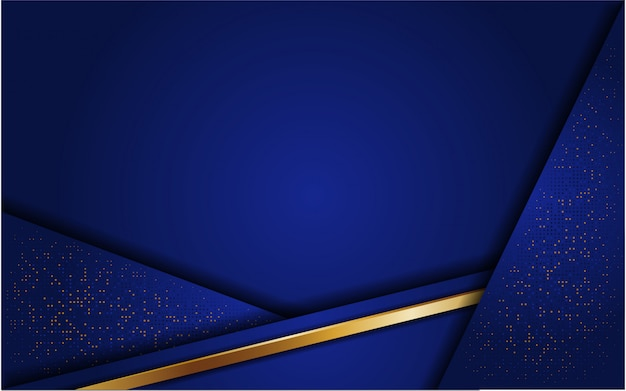 Abstrakter blauer hintergrund mit funkeln und linie gold