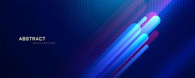 Abstrakter blauer hintergrund mit glühenden linien
