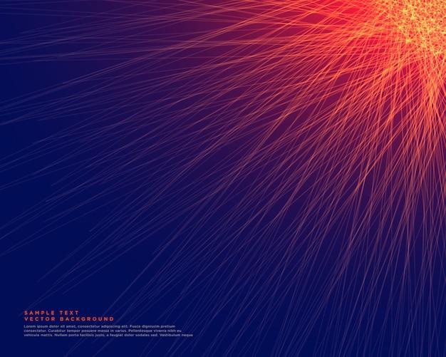 Abstrakter blauer hintergrund mit glühenden roten linien