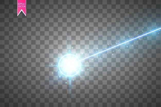 Abstrakter blauer laserstrahl auf transparentem hintergrund