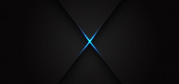 Abstrakter blauer lichtlinienkreuzschatten auf dem modernen luxusfuturismushintergrund des dunklen grauen entwurfs.