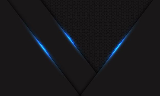 Abstrakter blauer lichtschatten auf dunkelgrauem metallic mit futuristischem technologie-hintergrundvektor des sechsecknetzmusters.