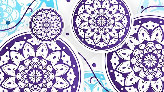Abstrakter blauer mandala-kunst-dekorativer hintergrund 3