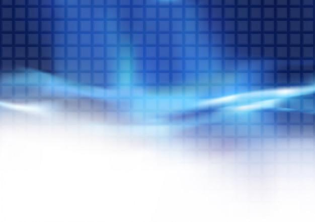 Abstrakter blauer mit ziegeln gedeckter hintergrund und flüssige lichtstrahlen