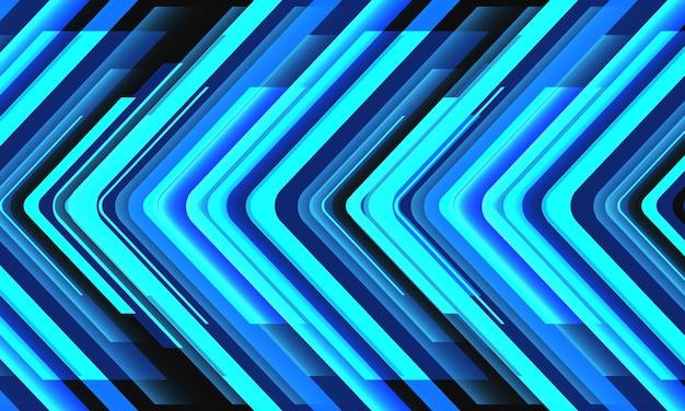 Abstrakter blauer neonpfeilrichtungsgeometrischer technologie-futuristischer hintergrundvektor