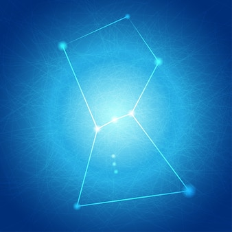 Abstrakter blauer orion auf tangle line background