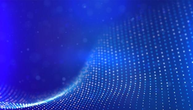 Abstrakter blauer partikelhintergrund flow wave mit dot landscape technology vector illustration