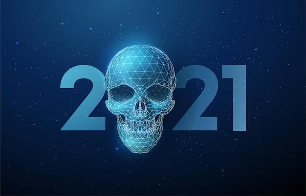 Abstrakter blauer schädel und nummer 2021 neujahr, niedriger poly-stil. abstrakter geometrischer hintergrund. drahtgitter lichtstruktur ..