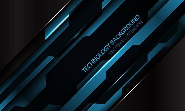 Abstrakter blauer schwarzer metallischer cyberfuturistischer schrägstrichfahnenentwurf moderner technologiehintergrund
