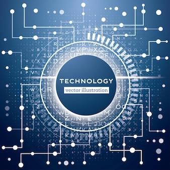 Abstrakter blauer technologiehintergrund mit verschiedenen buchstaben, linien und punkten. hacker-konzept. big data-visualisierung mit textfreiraum. vektor-illustration.