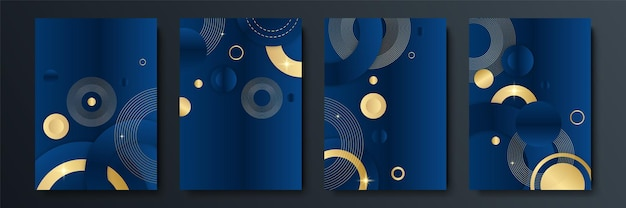 Abstrakter blauer und goldener hintergrund. abstrakte vorlage dunkelblauer luxus-premium-hintergrund mit luxuriösem dreiecksmuster und goldenen beleuchtungslinien