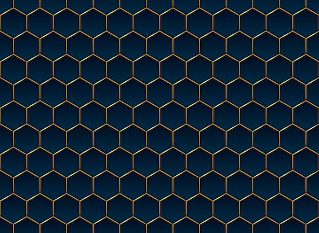 Abstrakter blauer und goldener sechseckmusterhintergrund