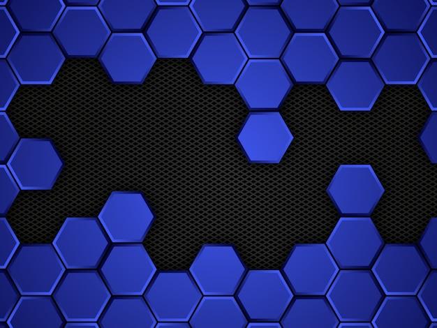 Abstrakter blauer und schwarzer hintergrund mit sechsecken. illustration