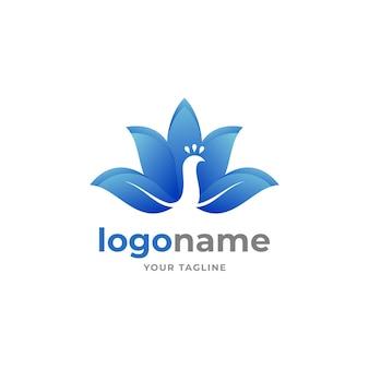 Abstrakter blauer vogelpfau-logo-gradientenstil für elegantes firmengeschäft der schönheit