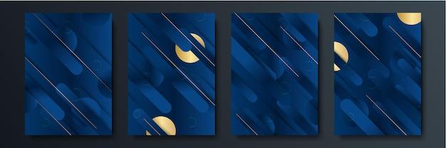 Abstrakter blaugrauer goldpfeil metallische richtung luxusüberlappungsdesign moderne futuristische hintergrundvektorillustration.