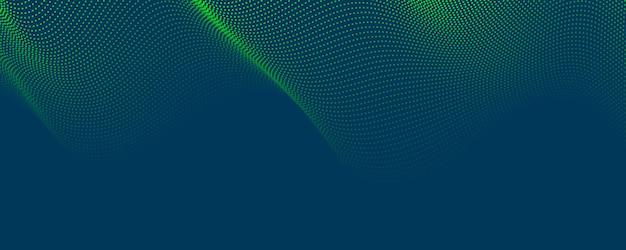 Abstrakter blaugrüner musterpunkthintergrund mit dynamischem dreieck. technologie particle mist netzwerk cybersicherheit.