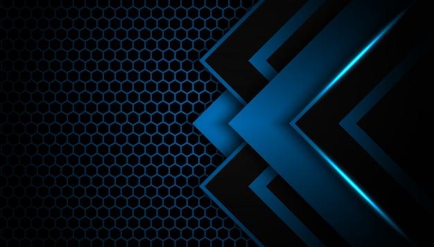 Abstrakter blaulichtpfeil auf schwarzem mit futuristischem technologieluxushintergrund des hexagons
