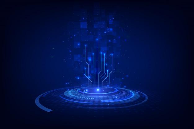 Abstrakter blockchain sciencefiction-kreisskala hud technologie-konzepthintergrund.