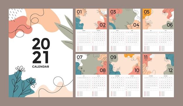 Abstrakter blumen kreativer wandkalenderentwurf mit woche beginnt am sonntag