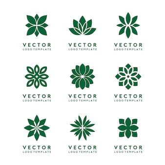 Abstrakter blumen-logo template vector set