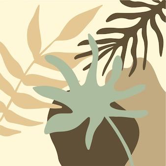 Abstrakter blumenhintergrund social media post tropical leaf vector illustration