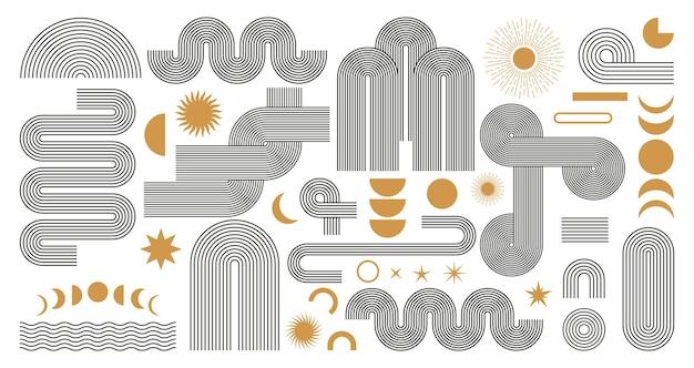 Abstrakter boho ästhetischer geometrischer formsatz. zeitgenössisches mid-century-liniendesign mit sonnen- und mondphasen im trendigen bohème-stil in erdtönen. moderne vektorillustration