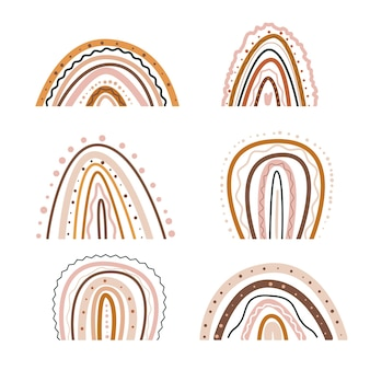 Abstrakter boho-regenbogen minimalistischer bogenkindergarten und babyzimmervorrat moderne trendige handgezeichnete wohnung