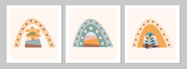 Abstrakter boho-regenbogen mit zweig mit blatt, sonne, herzen auf beigefarbenem hintergrund. flache vektorgrafik. cliparts im skandinavischen stil für moderne drucke, grußkarten, poster, wandkunst.