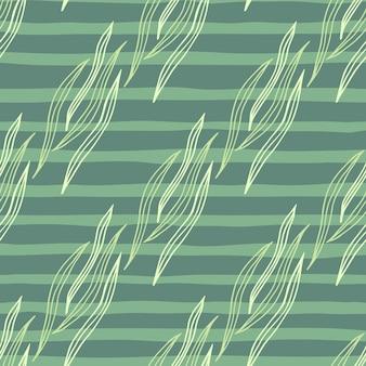 Abstrakter botanischer entwurf formt nahtloses muster auf grünem streifenhintergrund.