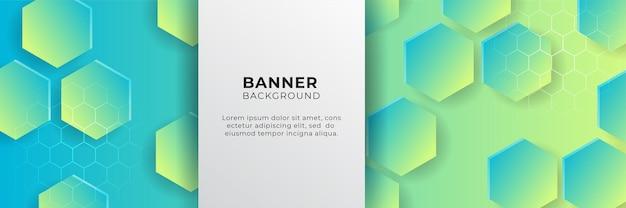 Abstrakter breiter bannerhintergrund mit geometrischen formen, streifen, wellen und digitalen technologieelementen