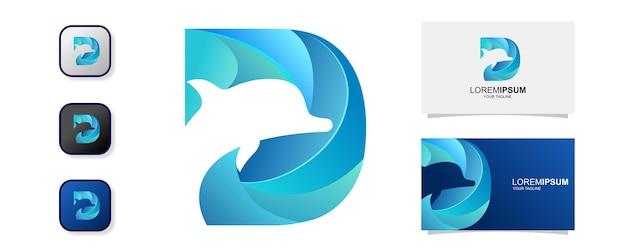 Abstrakter buchstabe d delphin-log Premium Vektoren