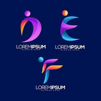 Abstrakter buchstabe d, e, f people logo