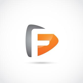 Abstrakter buchstabe f logo design