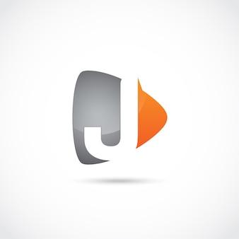 Abstrakter buchstabe j logo design