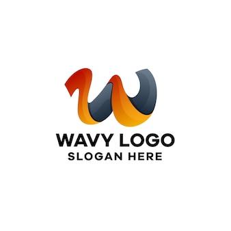 Abstrakter buchstabe w farbverlauf bunte logo vorlage