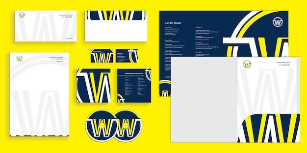 Abstrakter buchstabe w moderne corporate business identity stationär