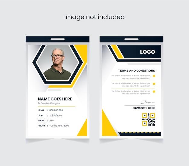 Abstrakter büroausweis buntes und kreatives design vorder- und rückseite ausweise für firmensachen