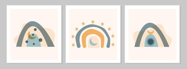Abstrakter bunter boho-regenbogen mit formen, imoon, sonne, stern auf beigefarbenem hintergrund. flache vektorgrafik. cliparts im skandinavischen stil für moderne drucke, grußkarten, poster, wandkunst.