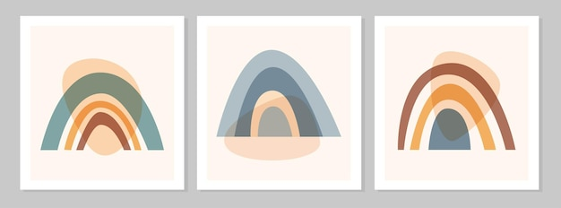 Abstrakter bunter boho-regenbogen mit formen, isoliert auf beigem hintergrund. flache vektorgrafik. cliparts im skandinavischen stil für moderne drucke, grußkarten, poster, wandkunst.